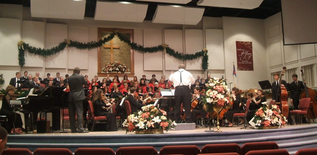 Playing in the FBC Orchestra for Christmas Cantata.